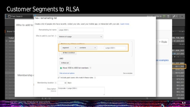 © 2015 Adobe Systems Incorporated. All Rights Reserved. Adobe Confidential. Customer Segments to RLSA 55