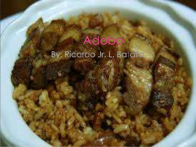 " Adobo (Filipino: ""marinade,"" ""sauce"" or ""seasoning"") is the name of a popular dish and cooking process in Philippine cui..."