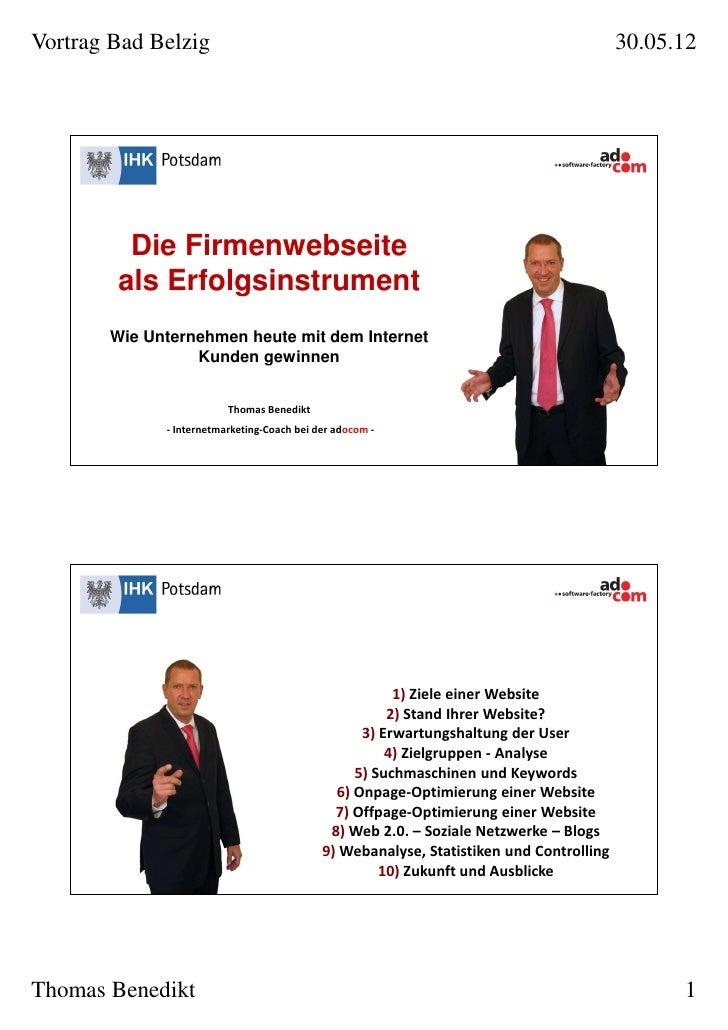 Vortrag Bad Belzig                                                                       30.05.12         Die Firmenwebsei...