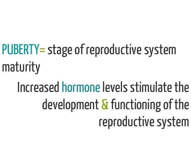 PUBERTY= stage of reproductive systemmaturity   Increased hormone levels stimulate the         development & functioning o...