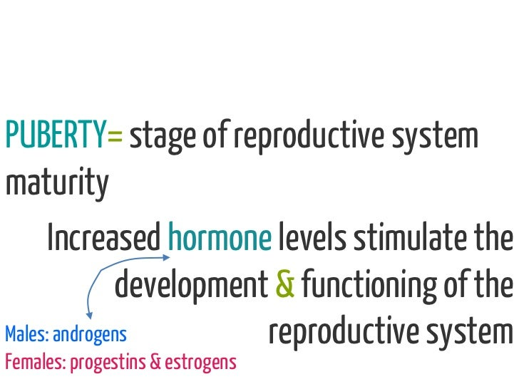 PUBERTY= stage of reproductive systemmaturity      Increased hormone levels stimulate the              development & funct...