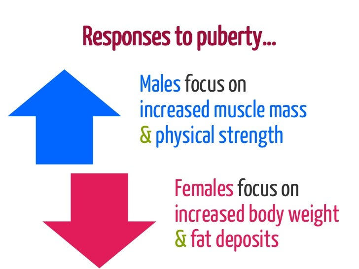 Responses to puberty…      Males focus on      increased muscle mass      & physical strength          Females focus on   ...