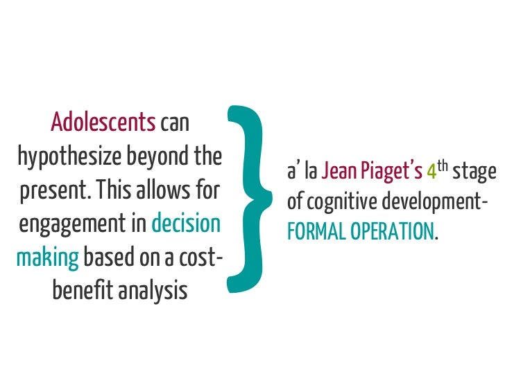 Adolescents canhypothesize beyond the                           a' la Jean Piaget's 4th stagepresent. This allows for   of...