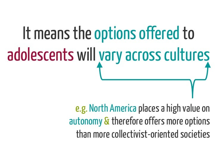 It means the options offered toadolescents will vary across cultures             e.g. North America places a high value on...