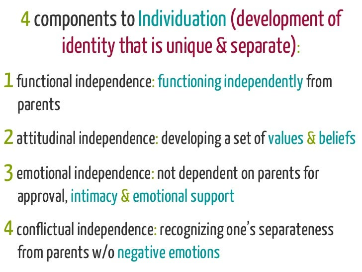 4 components to Individuation (development of            identity that is unique & separate):1 functional independence: fu...