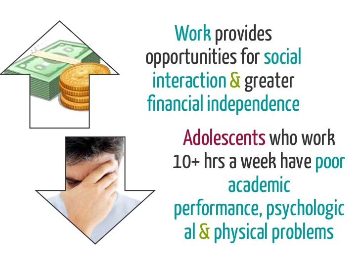 Work providesopportunities for social interaction & greaterfinancial independence     Adolescents who work    10+ hrs a we...