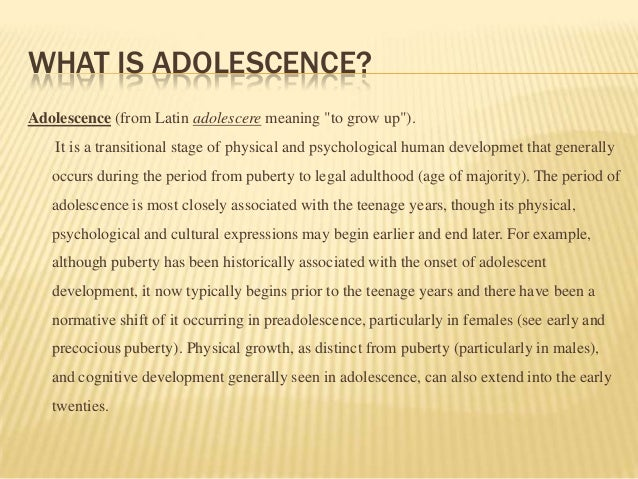 definition of adolescence Adolescent definition is - a young person who is developing into an adult : one who is in the state of adolescence how to use adolescent in a sentence.