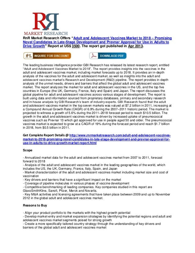 """RnR Market Research Offers """"Adult and Adolescent Vaccines Market to 2018 – PromisingNovel Candidates in Late-Stage Develop..."""