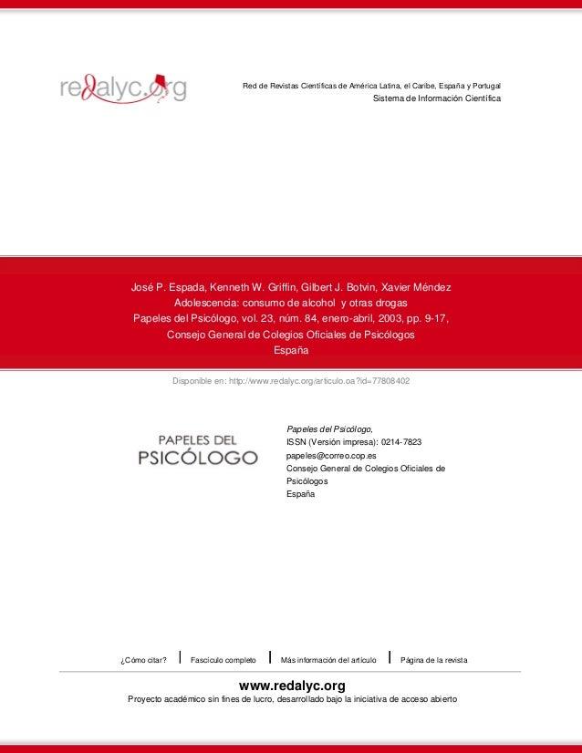 Disponible en: http://www.redalyc.org/articulo.oa?id=77808402 Red de Revistas Científicas de América Latina, el Caribe, Es...
