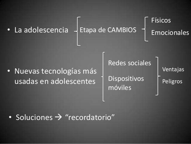 Físicos• La adolescencia   Etapa de CAMBIOS         Emocionales                            Redes sociales• Nuevas tecnolog...