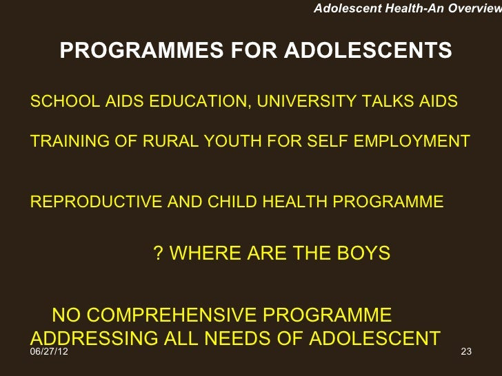 gender variation of health awareness of adolescents in india Unfpa india works with the government and  adolescent reproductive health is a key  the practice of gender-biased sex-selection in india has manifested in .