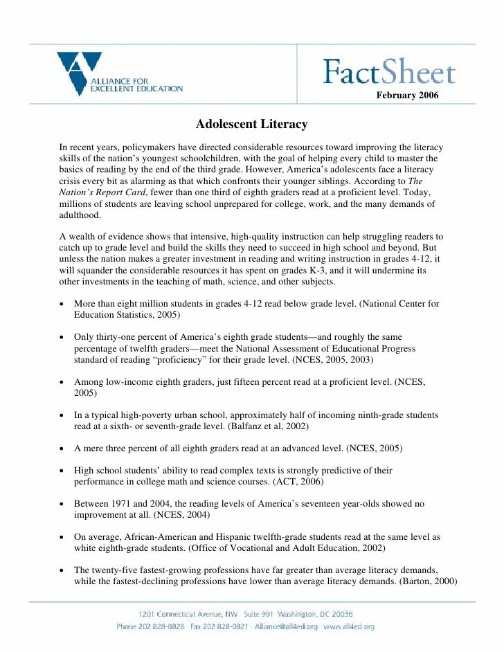 February 2006                                      Adolescent Literacy In recent years, policymakers have directed conside...