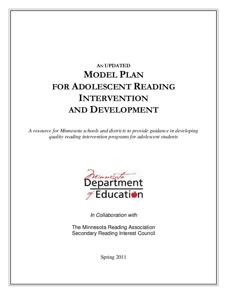 AN UPDATED                MODEL PLAN          FOR ADOLESCENT READING               INTERVENTION             AND DEVELOPMEN...