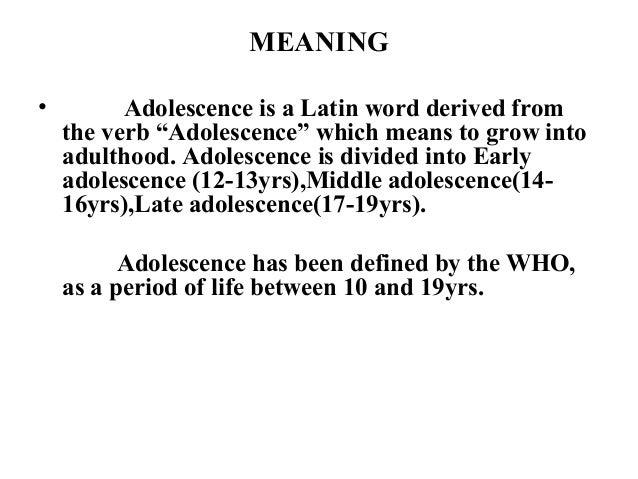 definition of adolescent development In studying adolescent development, adolescence can be defined biologically.