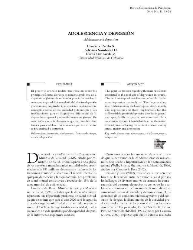 ADOLESCENCIA Y DEPRESIÓNAdolescence and depressionGraciela Pardo A.Adriana Sandoval D.Diana Umbarila Z.Universidad Naciona...