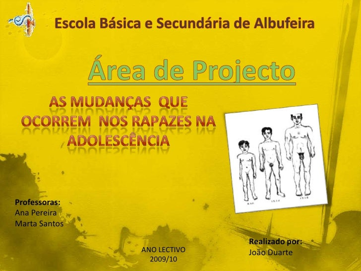 Escola Básica e Secundária de Albufeira<br />Área de Projecto<br />AS MUDANÇAS  QUE OCORREM  NOS RAPAZES NAADOLESCÊNCIA<br...