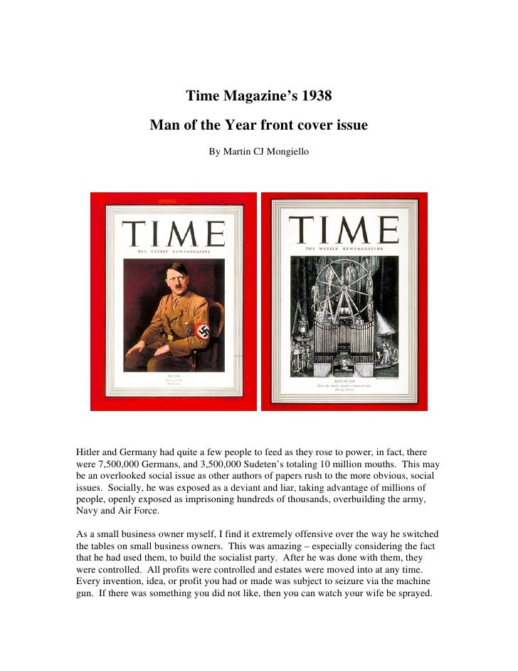 Time Magazine's 1938                   Man of the Year front cover issue                                 By Martin CJ Mong...
