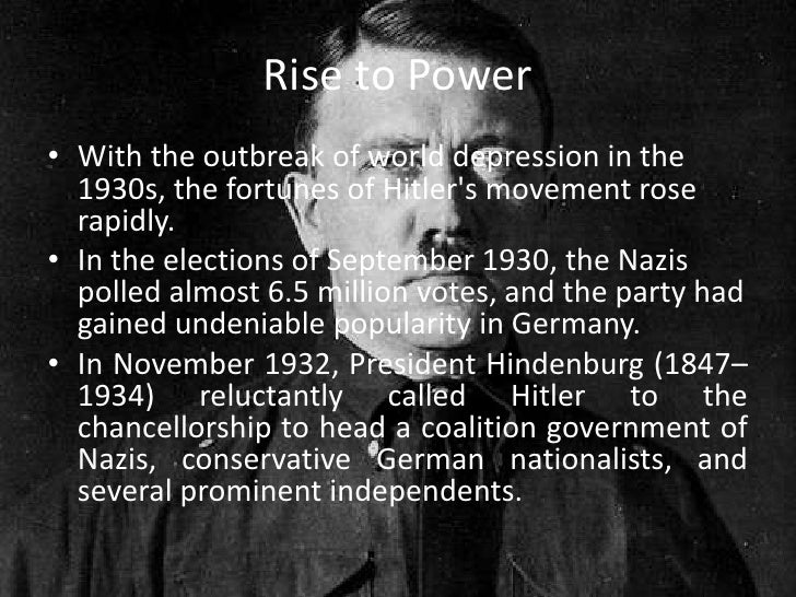 adolf hitlers rise to power Adolf hitler's rise to power began in germany in september 1919 [lower-alpha 1] when hitler joined the political party known as the deutsche arbeiterpartei – dap.