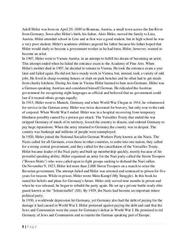 adolf hitler leadership essay Adolf hitler (leadership) 1 1 2 2 3 april 20, 1889 hitler was born in braunau, austria may 1913 leaves vienna and moves.
