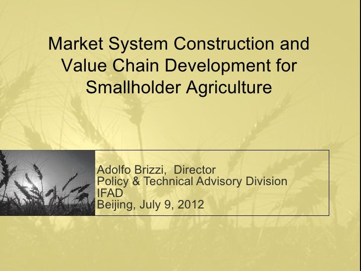 Market System Construction and Value Chain Development for    Smallholder Agriculture     Adolfo Brizzi, Director     Poli...
