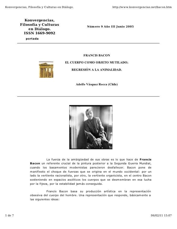 Konvergencias, Filosofía y Culturas en Diálogo.                            http://www.konvergencias.net/bacon.htm         ...
