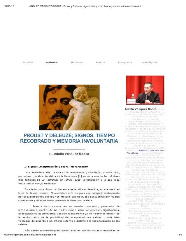 20/05/12             ADOLFO VÁSQUEZ ROCCA - Proust y Deleuze; signos, tiempo recobrado y memoria involuntaria (Artí…      ...