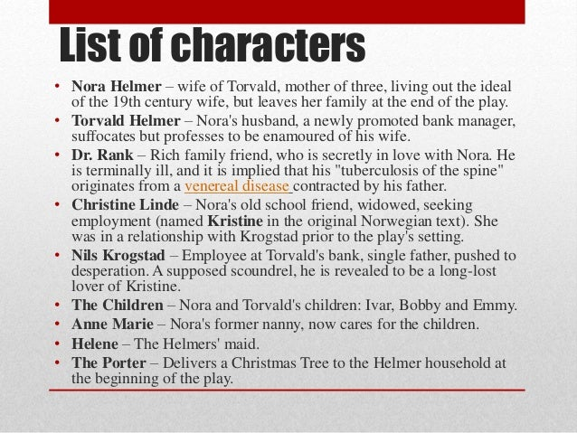 a dolls house character analysis essay Character analysis of nora helmer(a doll house) essayscharacter biography:  nora helmer is a housewife in her late thirties she has been married to torvald.