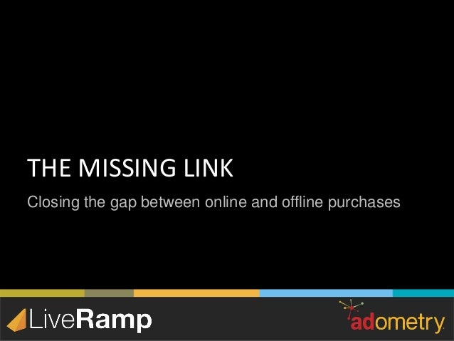 Closing the gap between online and offline purchases THE MISSING LINK