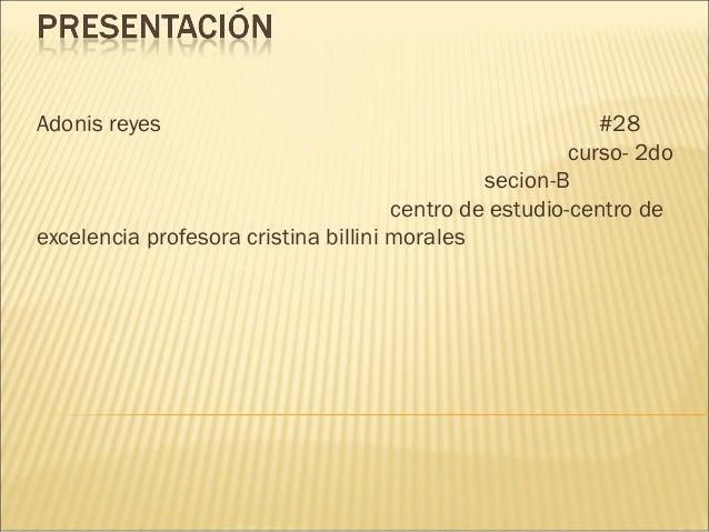 Adonis reyes #28 curso- 2do secion-B centro de estudio-centro de excelencia profesora cristina billini morales