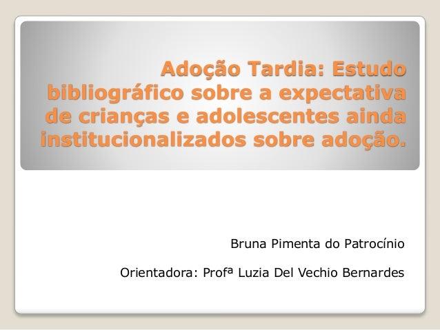 Adoção Tardia: Estudo bibliográfico sobre a expectativa de crianças e adolescentes ainda institucionalizados sobre adoção....