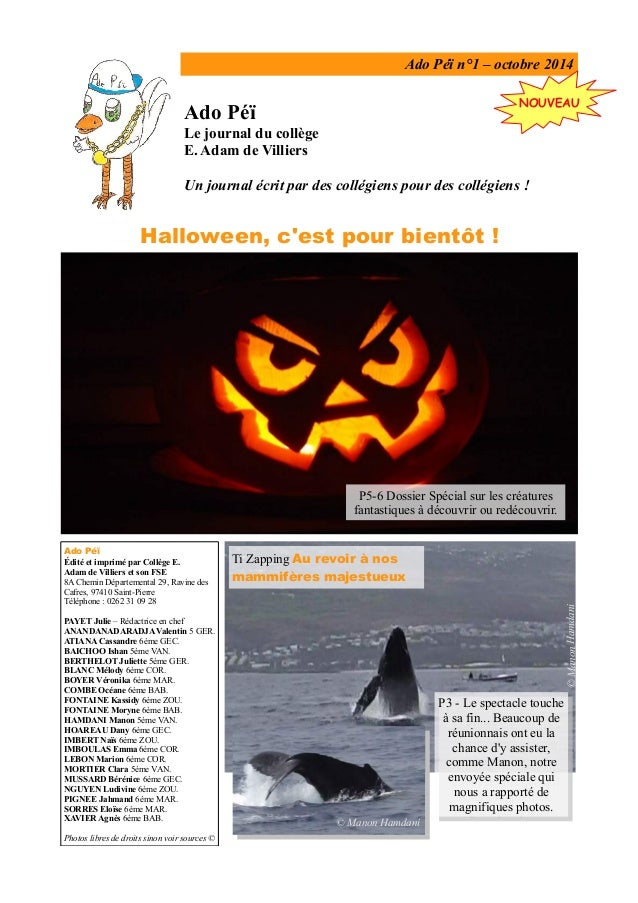 Ado Péï n°1 – octobre 2014 Ado Péï Le journal du collège E. Adam de Villiers Un journal écrit par des collégiens pour des ...