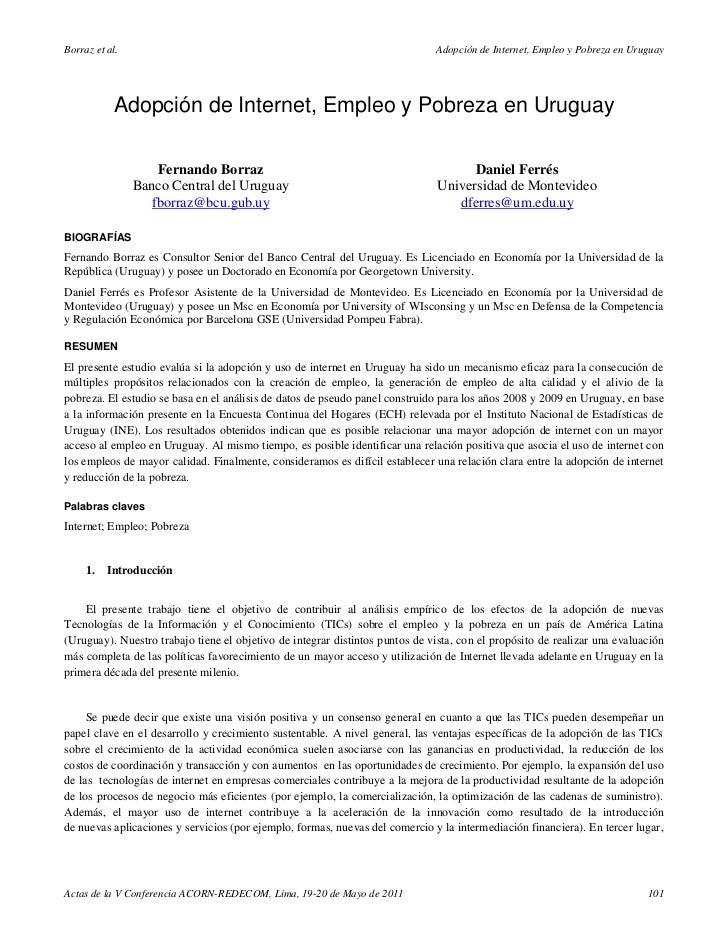 Borraz et al.                                                                 Adopción de Internet, Empleo y Pobreza en Ur...