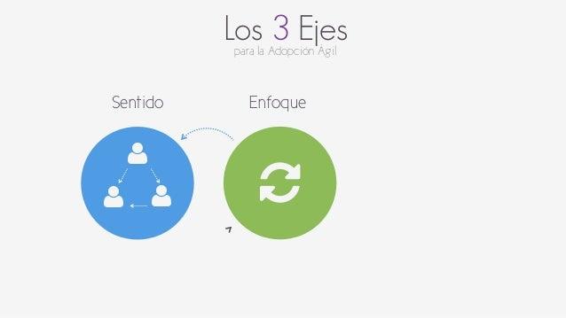 Los 3 Ejes  para la Adopción Ágil  Sentido  $  $ $  Enfoque  %