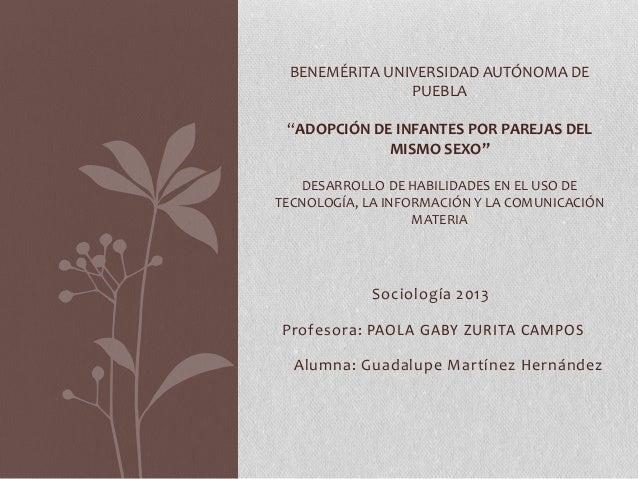 """BENEMÉRITA UNIVERSIDAD AUTÓNOMA DE PUEBLA """"ADOPCIÓN DE INFANTES POR PAREJAS DEL MISMO SEXO"""" DESARROLLO DE HABILIDADES EN E..."""