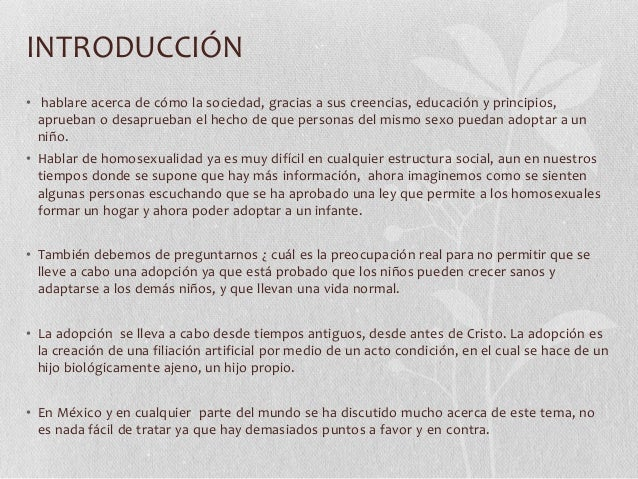 Debate encontra de la adopcion homosexual