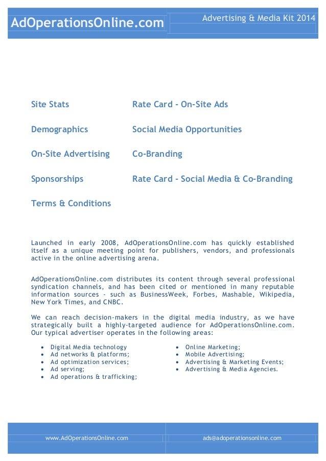 AdOperationsOnline.com Advertising & Media Kit 2014 www.AdOperationsOnline.com ads@adoperationsonline.com Site Stats Rate ...
