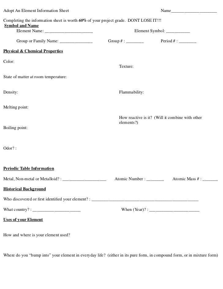 Adopt an element info sheet – Element Symbols Worksheet