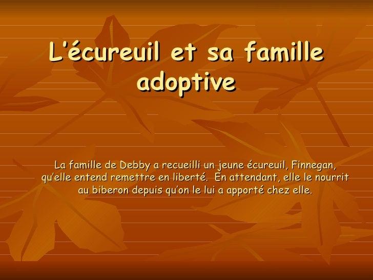 L'écureuil et sa famille adoptive La famille de Debby a recueilli un jeune écureuil, Finnegan, qu'elle entend remettre en ...
