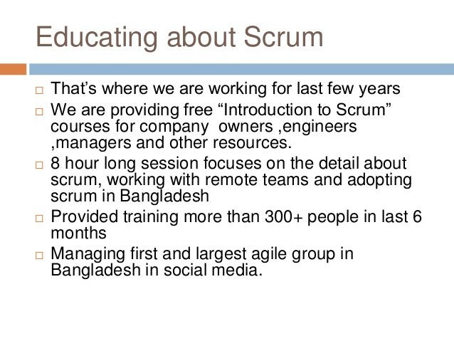 """Educating about Scrum  That's where we are working for last few years  We are providing free """"Introduction to Scrum"""" cou..."""