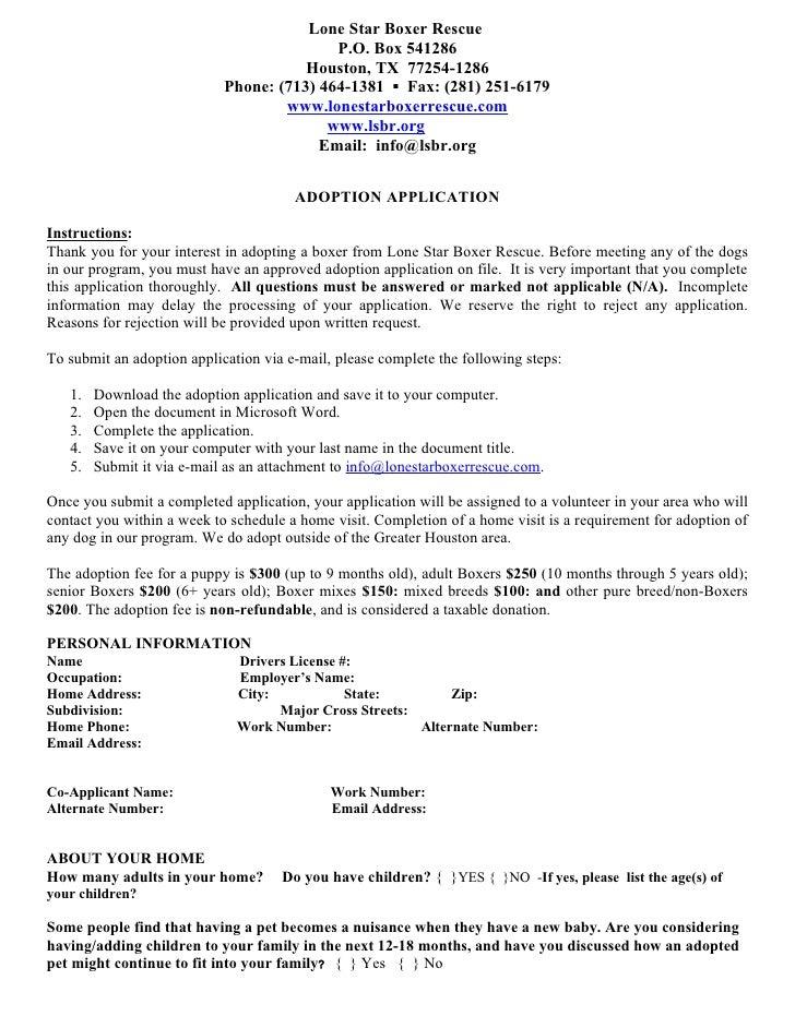 Adoption application 072010