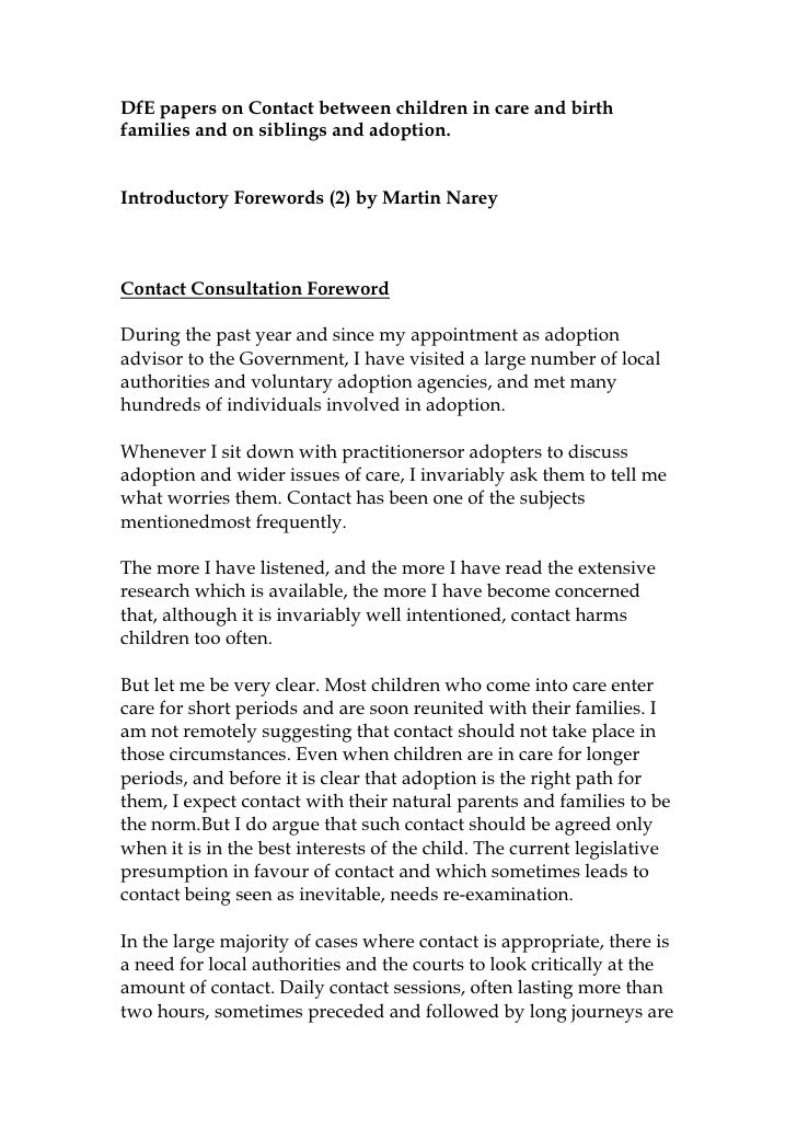 DfE papers on Contact between children in care and birthfamilies and on siblings and adoption.Introductory Forewords (2) b...