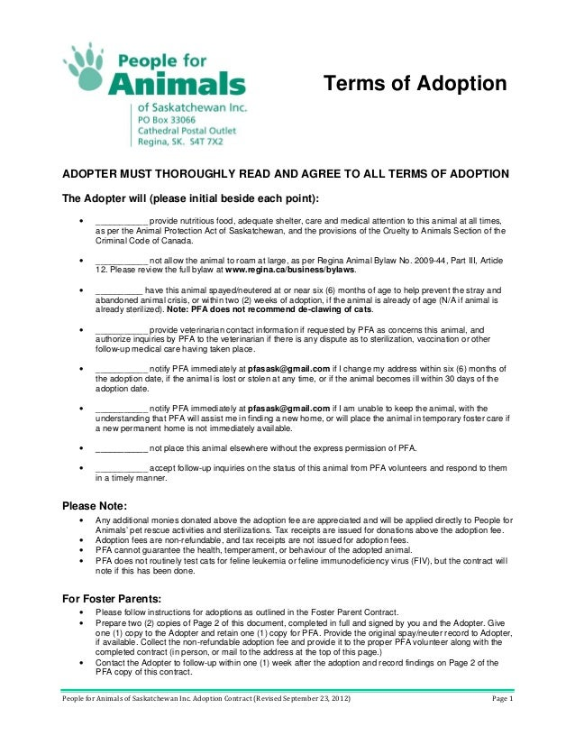 People For Animals Adoption Contract