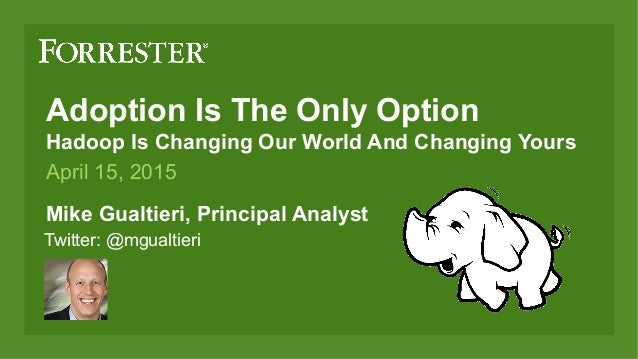 Adoption Is The Only Option Hadoop Is Changing Our World And Changing Yours Mike Gualtieri, Principal Analys...