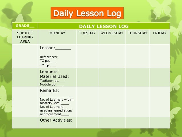 Adoption Of Daily Lesson Log SemBreak Inset