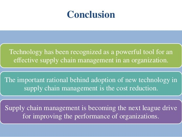 adopting new technologies for supply chain The list includes a variety of technologies ranging from mature and widely used technologies such as bar coding technology to relatively new software applications such as supply chain planning systems and supply chain event management systems.