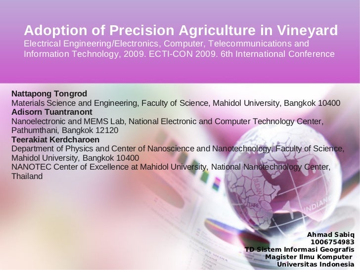 Adoption of Precision Agriculture in Vineyard   Electrical Engineering/Electronics, Computer, Telecommunications and   Inf...