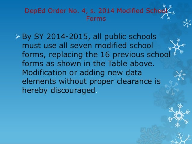 Adoption of the modified school forms (s fs
