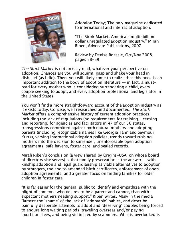 """Adoption Today; The only magazine dedicated to international and interracial adoption. """"The Stork Market: America's multi-..."""