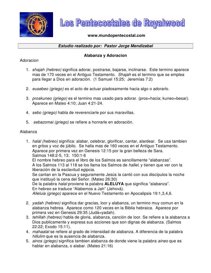 www.mundopentecostal.com                      Estudio realizado por: Pastor Jorge Mendizabal                              ...