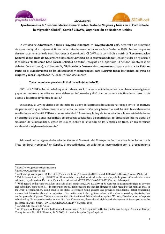 """ADORATRICES 1 Aportaciones a la """"Recomendación General sobre Trata de Mujeres y Niñas en el Contexto de la Migración Globa..."""